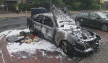 Pożar auta na wolskim parkingu