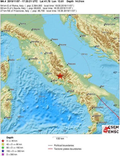 Lokalizacja trzęsienia ziemi (emsc-csem.org)