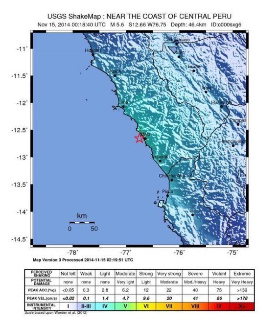 Siłę trzęsienia w Peru oceniono na 5,8 w skali Richtera