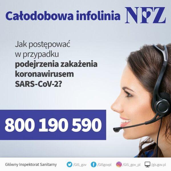 Całodobowa infolinia NFZ w sprawie koronawirusa (Główny Inspektorat Sanitarny)