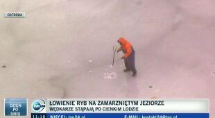 Wędkarze stąpają po cienkim lodzie (TVN24)